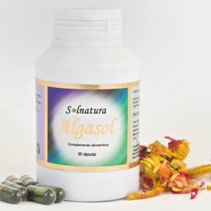 Algasol Suplemento Alimenticio - Imagen de un bote de Algasol con etiqueta de Solnatura - Distribuido por Nutraceutis